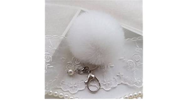 34d399a534 White   Car Keychain Pendant Cute Soft Faux Rabbit Fur Ball Handbag Charm  Keyring Pom-White  Amazon.in  Bags