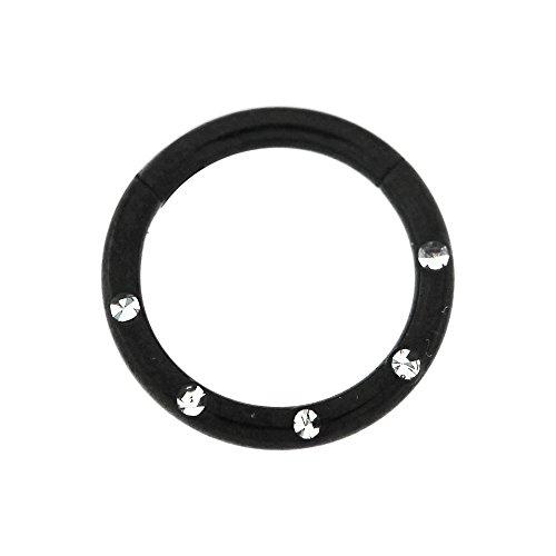 14 Gauge - 10 MM Länge schwarz eloxiert Chirurgenstahl 5 Kristallsteinen gepflastert klappbar Segment Nase Ring Septum Piercing