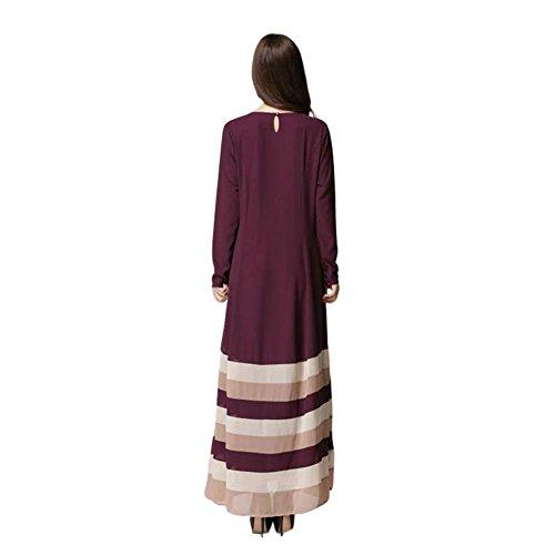 Zhuhaixmy Damen Kaftan Abaya Kleid Muslim Islam Malaysia Middle East Lange Ärmel Chiffon Streifen Bekleidung Robes Coffee