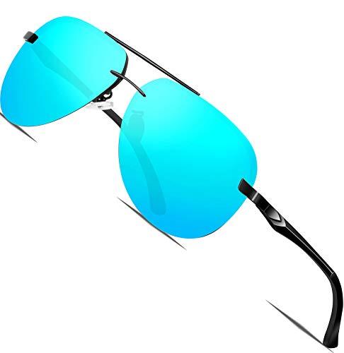 ATTCL Herren Klassik Al-Mg Metallrahmen Polarisierte Fahren Sonnenbrille Herren 1A143 blau