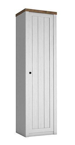 Drehtürenschrank / Kleiderschrank Segnas 08, Farbe: Kiefer Weiß / Eiche Braun - 198 x 50 x 43 cm (H x B x T)