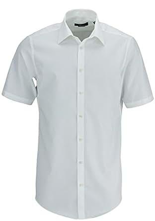 Venti Hemd Creme Uni Kurzarm Slim Fit Tailliert Kentkragen 100% Feinste Baumwolle Popeline Bügelfrei 35