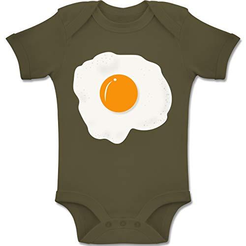 Kostüm Toast Baby - Karneval und Fasching Baby - Spiegelei Kostüm - 3-6 Monate - Olivgrün - BZ10 - Baby Body Kurzarm Jungen Mädchen