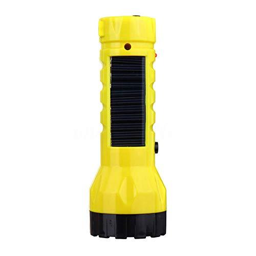 Energia solare torcia torcia, torcia a LED ricaricabile con Bulit in caricabatterie per campeggio, trekking, arrampicata, sport all' aria aperta, veicolo, kit di emergenza auto, yellow