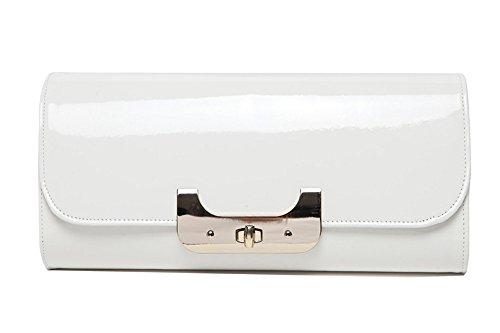Schulterbeutel, Handbeutel, Retro- schräge Handbeutel, personifizierte Gezeiten einfache Handbeutel, Abendbeutel ( Farbe : Silber ) Weiß
