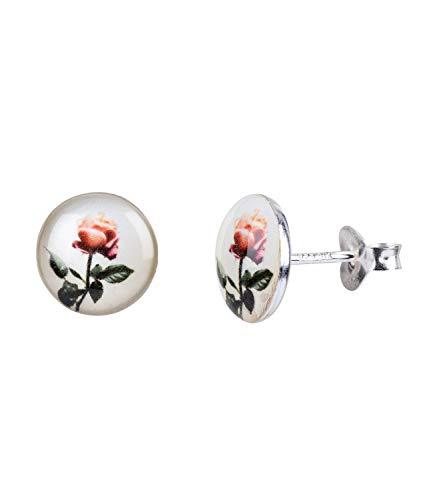 SIX Damen Ohrringe, Ohrstecker, 925er Silber, Silver Sterling, Plättchen, Kreise, Rosen, weiß, rosa, silber (773-737)