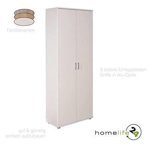 Aktenschrank Schrank Büroschrank Mehrzweckschrank mit Doppeltür mit 5 Böden in Weiß