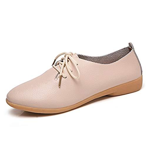 Decai Mocasines de Cuero Piel Mujer Oxford con Cordones Zapatos de Conducción Planos Clásica Punta...