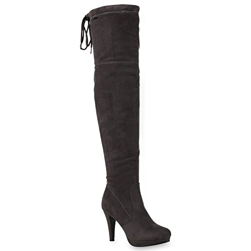 Stiefelparadies Heiße Damen Stiefel Overknees High Heels Plateau Boots Schuhe 125755 Grau 38...
