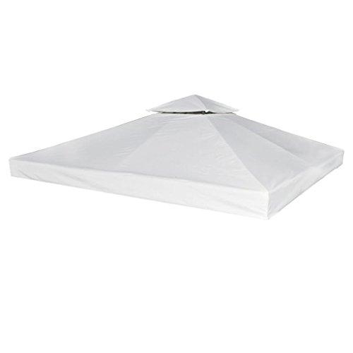 vidaXL Toldo de Cenador de Repuesto Tela Impermeable Blanca 3x3m Techo Pérgola
