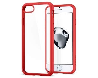 Spigen Funda iPhone 8, funda iPhone 7/8, [Ultra Hybrid 2ª generación] Tecnología de amortiguación de aire y protección híbrida contra caídas para iPhone 7 (2016)/iPhone 8 (2017) [Rojo]
