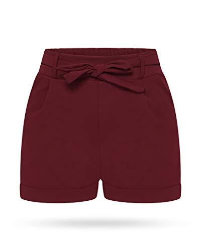 Kendindza Damen Sommer Shorts | Kurze Hose mit Schleife zum binden | Bermuda | Uni-Farben (L/XL, Weinrot) -