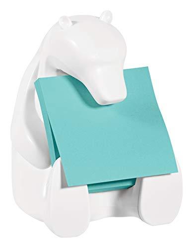 Post-it Super Sticky Z-Notes Spender BEAR-330 1 Z-Notes Spender in Eisbär-Form, weiß, 1 Block Super Sticky Z-Notes Á 90 Blatt Türkis, 76 x 76 mm, PEFC zertifiziert