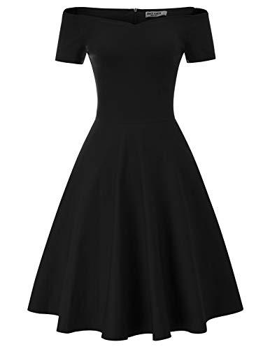 GRACE KARIN Robe Plissée Femme Épaule Nue Manche Moulante Noir L CL20-1