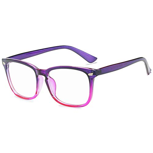 VEVESMUNDO Computerbrille Anti Blaulicht Blaulichtfilter Brillen ohne sehstärke Brillengestelle Brillenfassung Damen Herren Große Rechteckig Fakebrillen Streberbrille Nerdbrille mit Brillenetui (Lila)
