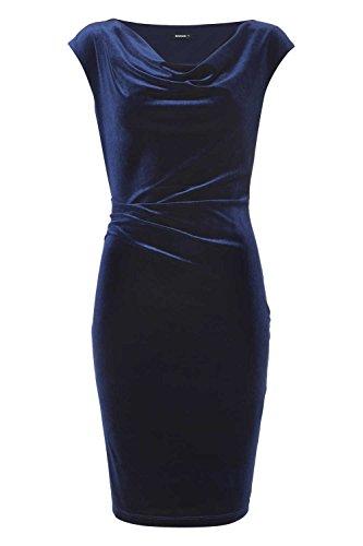 Roman Originals - Robe Femme en Velours Plissé Col Bénitier - Bleu Marine Bleu