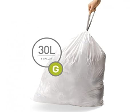 simplehuman BULK VALUE PACK Code G Custom Fit Trash Can Liner 30 L / 8 Gallon, 200 Pack