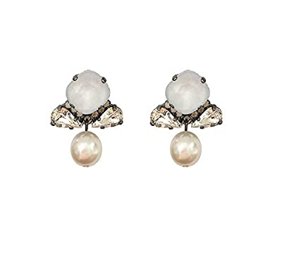 VICKISARGE Little Sweeties White Swarovski Crystals and Pearls Oxidised Silver Drop Earrings