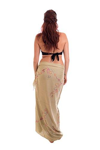 Ca 48 Modelle Sarong Pareo Wickelrock Strandtuch Handtuch Lunghi Dhoti ca. 170cm x 110cm mit Toller Stickerei Handarbeit viele Modelle Stickerei Braun