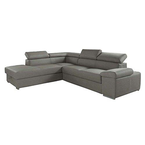 Esse italia divano letto angolare in ecopelle grigio chiaro penisola a sx 280x103xh.73 cm