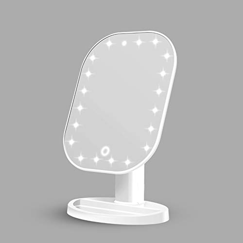 LULUKEKE Make-up Mirror,20 Pcs LED Lights, Vanity Mirror mit Touch Screen Dimming, LED Illuminated Tabletop Vanity Mirror, Desk Free Standing Portable,White
