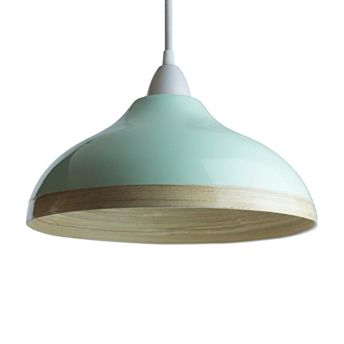 Pantalla para lámpara colgante de techo de bambú natural con exterior lacado brillante (Huevo de pato azul, 30cm)