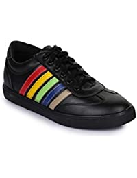 Bruno Manetti Men Black Synthetic Leather Sneakers
