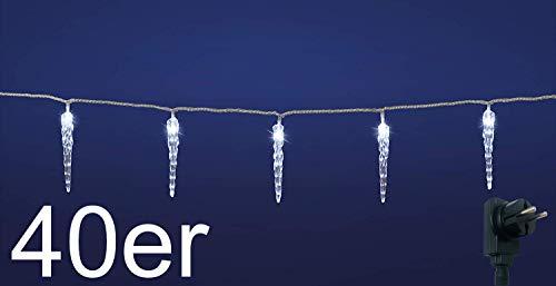 LED Lichterkette mit kalt-weißen beleuchteten Eiszapfen, für Innen und Außen geeignet, erweiterbar um 2 Lichterketten (40er Lichterkette)