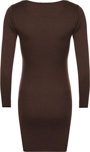 WearAll - Neu Damen Übergröße Bodycon Elastisch Langarm Kleid Top - 8 Farben - Größe 44-48 Dunkelbraun