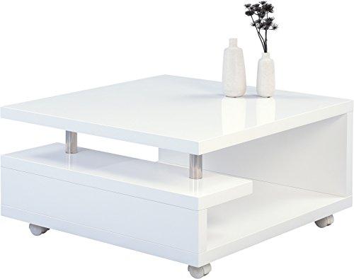 HomeTrends4You 131450 Tilda Couchtisch, Holz, weiß hochglanz, 80 x 80 x 42 - Weiß Quadratischer Couchtisch