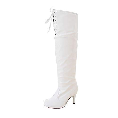 LEXUPE Damen Schuhe Knee Dancing Sexy Waterproof Platform Shoe Tie Front Heel Boots