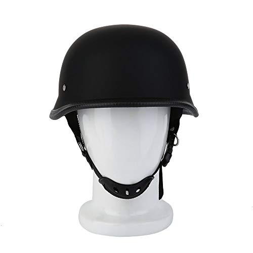 CHOULI Matte Black German Style Vintage Motorcycle Helmet Half Face German Helmet Black