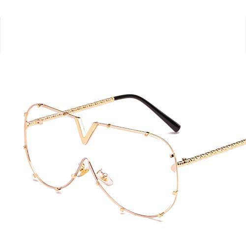 Wenkang Übergroße quadratische Sonnenbrille Damen Brillenfassungen Transparente Linse Damen Einteilige Brillenbrille Sonnenbrille,S342