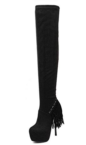 Kitzen Damen Damen Sexy über Knie Schenkel High Heel Stretch Plattform Herbst Faux Leder Stiefel Schuhe, 35 (Schnalle Stiefel Knie Stiletto Heel)