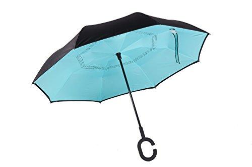 merrya antivento protezione UV ombrello doppio Canopy Inverted elover Big dritto retro ombrello per auto pioggia Sunny esterni Libera installazione Inside Out con mani libere a manico Blue