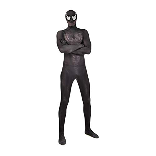 QWEASZER Venom Spider-man-Kostüm Erwachsene Männer Frauen Zentai Kleidung Halloween Lycra Elastische Strumpfhosen Venom Spiderman Movie Stage Requisiten Requisiten,Black Venom Spiderman-XXL