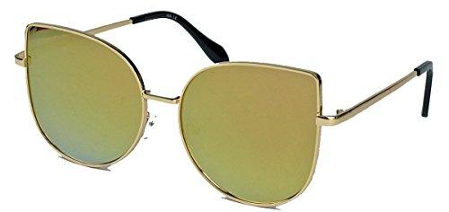 Blogger Trend: Cat Eye Brille mit Metallrahmen Damen Sonnenbrille Nerdbrille (Gold / Gold verspiegelt)
