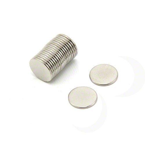 First4magnets F308-20 12mm Durchmesser x 1mm dicken N42 Neodym-Magneten - 0,73 kg ziehen (Packung mit 20), silver, 25 x 10 x 3 cm, Stück -
