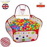 Tech Traders Kids Ball Pit Ball Tent Toddler Ball Pit with Basketball Hoop and Zippered Storage Bag for Toddlers 4 ft/120cm(Balls not Included)