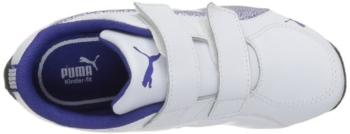 Puma Drift Cat 5 Glitter V Kids 304972 Mädchen Sneaker Weiß (white-spectrum blue 02)