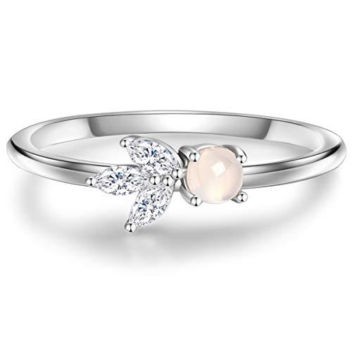 n Damen-Ring Sterling Silber 925 mit Bergkristall und Mondstein - Edelstein-Ring mit Blume-Symbol ()
