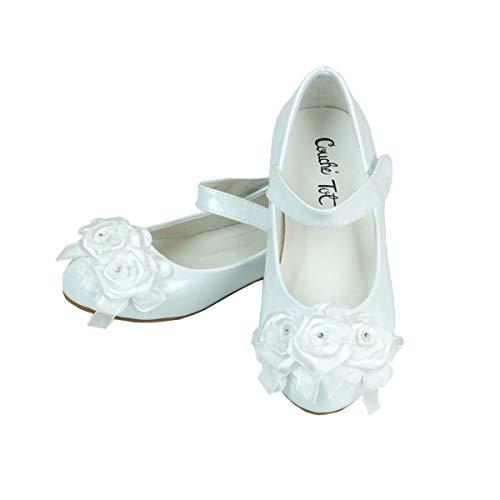 SIRRI Weiße Formale Parteihochzeitskommunionschuhe des besonderen Anlasses der Blume für Mädchen UK Child 10-28 EU