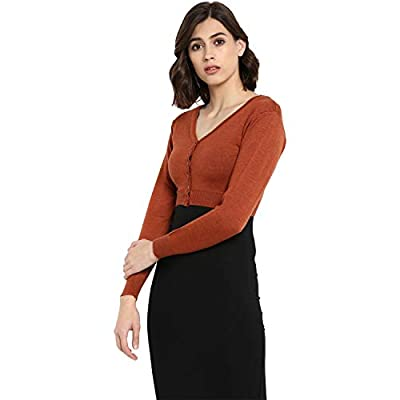 Monte Carlo Rust Solid Pure Wool Front Open Blouse