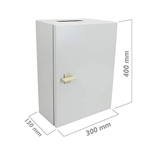 BeMatik - Caja de distribución eléctrica metálica con protección IP65 para fijación a Pared 400x300x150mm