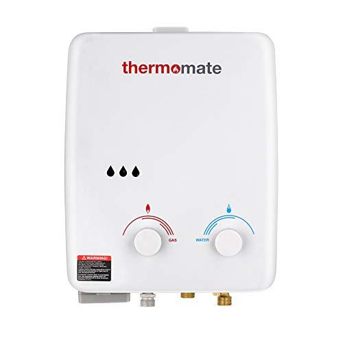 Calentador de Agua de Gas, thermomate AZ132 5L Ducha de Gas Propano Instantáneo, Intercambiador de Calor de Cobre Puro, uso para Caravana, Camping, Barco