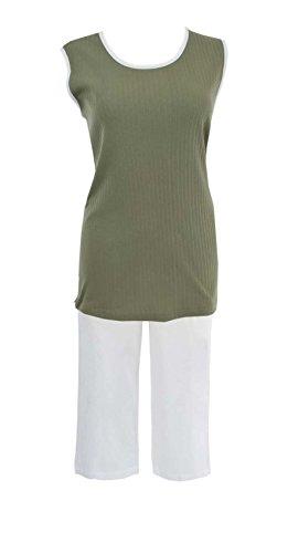 adonia mode Damen Capri Pyjama Ohne Arm Schlafanzug , Gr. 38 - 48 Khaki / Weiss