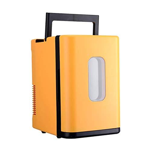 Kievy 10L Mini Auto Kühlschrank, tragbare kleine Weinkühlschränke Camping Kühler & Wärmer Taschen, Auto Heizung und Kühlbox Auto. (Color : Yellow)