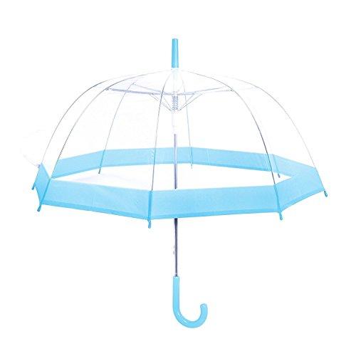 Rainbrace Transparent Bubble Regenschirm Automatisch Öffnen, Mode Dome Form mit Farbe Trim (Hellbalu)