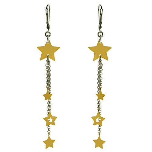 ORECCHINI pendenti con STELLE in ARGENTO 925, chiususa a MONACHELLA,catena ROLO' diamantata
