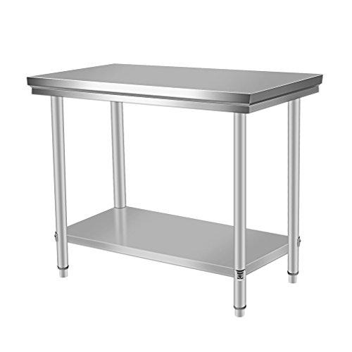 Blackpoolal Arbeitstisch Edelstahl Garten Küche Gastro Tisch Edelstahltisch Küchentisch Arbeitstisch Anrichte Silber (100 x 60 x 80CM)